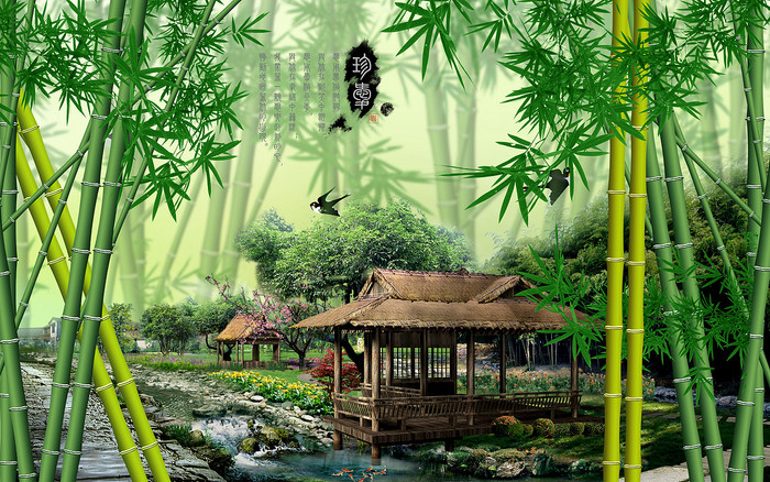 风景画竹子竹林电视墙设计 中式 中国风 山水画 风景画 3d立体 背景墙