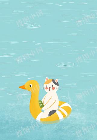 卡通猫咪泳池背景