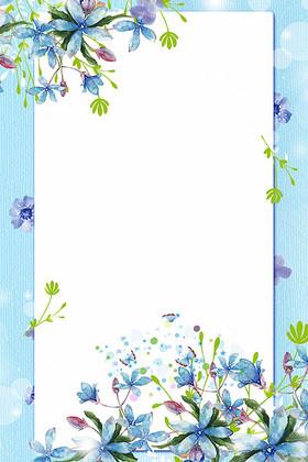 蓝色春季上新清新背景