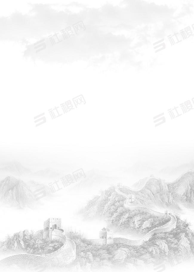 中国风万里长城海报PSD背景素材