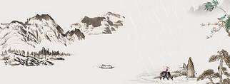 中国风山水清明文艺背景