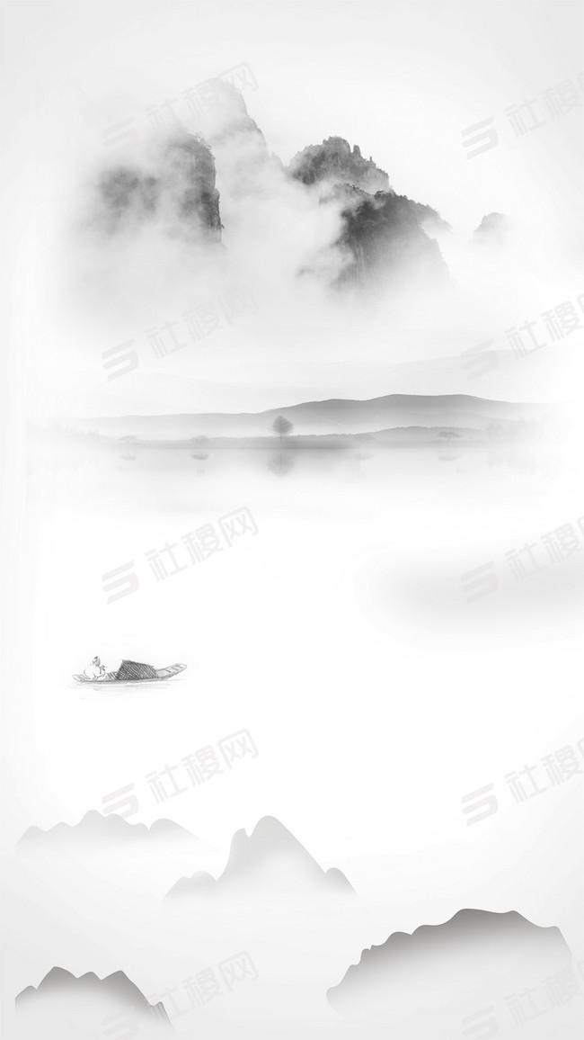清新淡雅水墨中国风海报H5背景