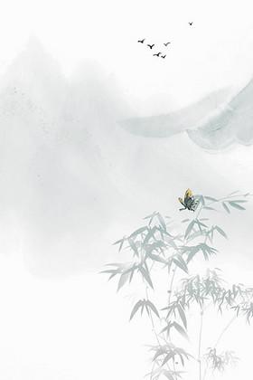 手绘水墨山水画竹子中国风荷花广告背景