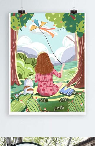 小清新绿色节气春分女孩猫咪放风筝