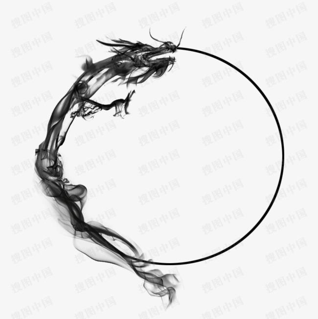 本古风巨龙水墨龙墨迹圆圈素材来源于社稷网官方网站中的元素版块.