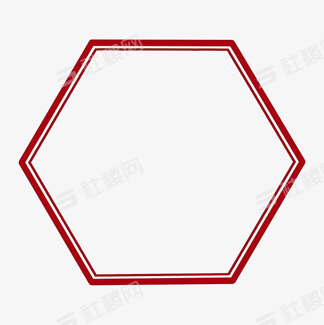 六边形中国风古典红色边框png图片免抠png素材免费