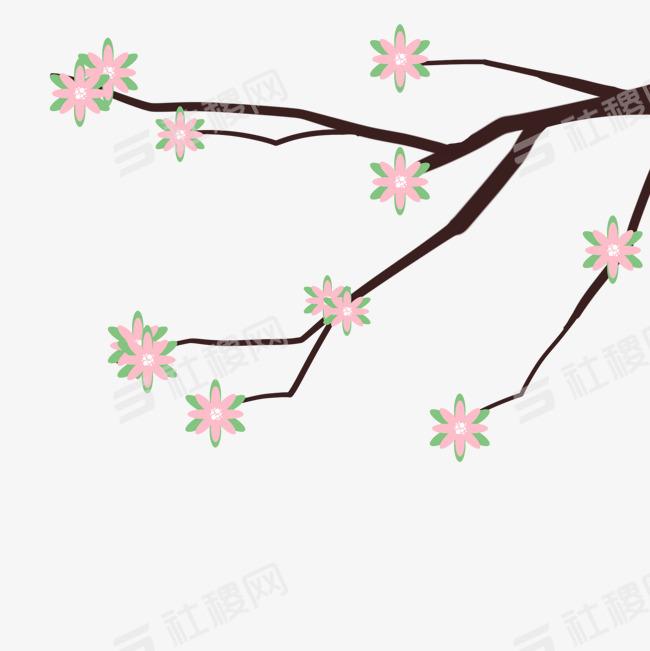 > 春天手绘小清新花枝元素
