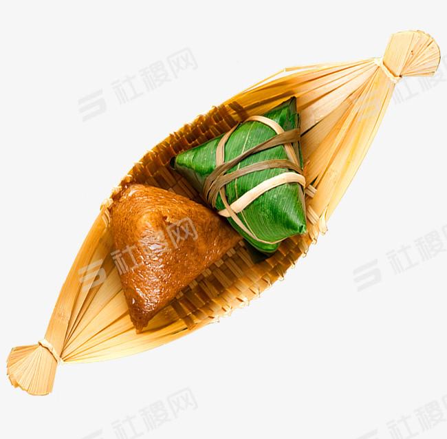 端午节小船粽子实物元素