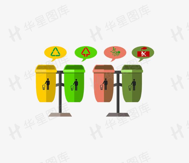 垃圾分类垃圾桶干湿垃圾可回收不可回收垃圾素材