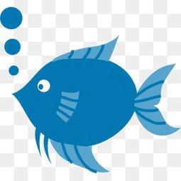 手绘蓝色 的鱼
