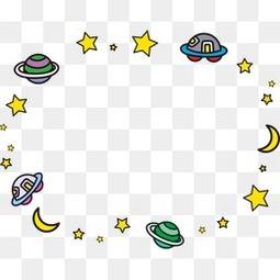 卡通太空星球边框