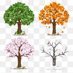树木的春夏秋冬矢量图