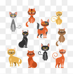 10款可爱猫咪设计矢量