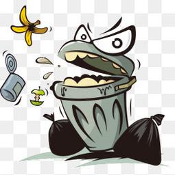 矢量垃圾与垃圾桶