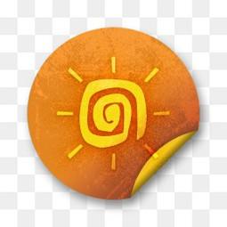 橙色垃圾贴纸徽章橙色垃圾贴纸