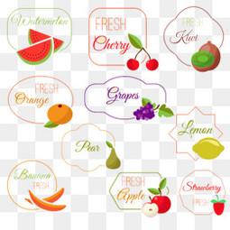 10款彩色水果标签矢量素材