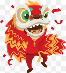 卡通矢量新年元旦舞狮红色