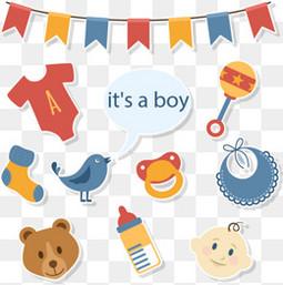 10款迎婴派对装饰元素矢量图