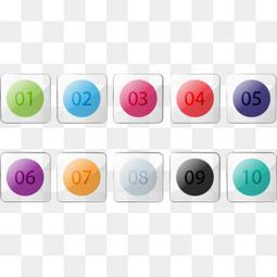 10款玻璃质感数字图标矢量素材