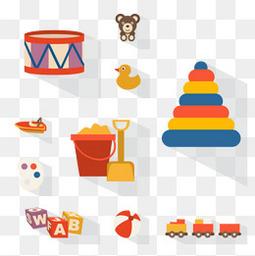 10款扁平化玩具图标矢量素材