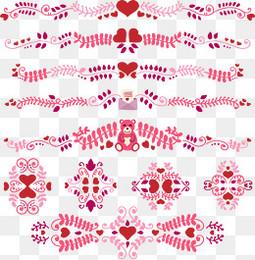 10款情人节花纹花边矢量图
