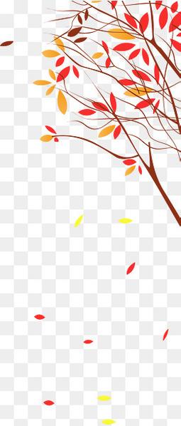 秋天落叶树枝装饰矢量图