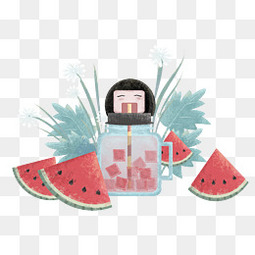 小清新唯美夏日大暑小暑西瓜