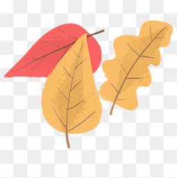 手绘秋季的落叶设计