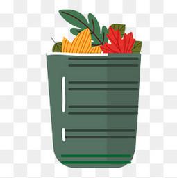 卡通秋季的落叶垃圾桶设计