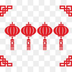 春节灯笼红色剪纸