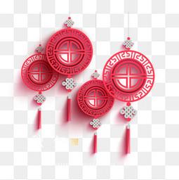 红色剪纸灯笼祥云矢量