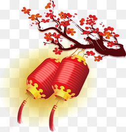 新年红色梅花灯笼年画