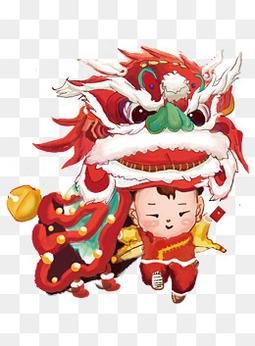 庙会舞狮子 红色系 中国风