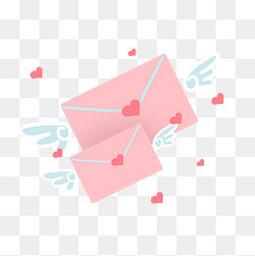 粉色情书翅膀爱心
