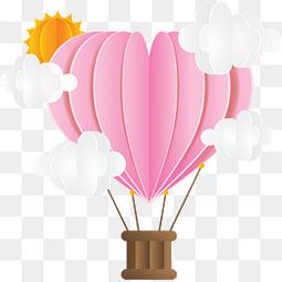 粉红折纸爱心热气球
