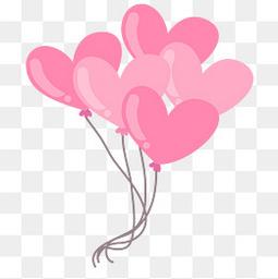 矢量装饰漂浮的桃心气球元素