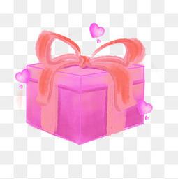 情人节手绘礼盒爱心紫色