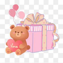手绘礼盒小熊粉色