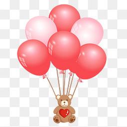 情人节粉色可爱小熊气球