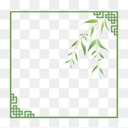 中国风边框绿色植物边框水彩植物