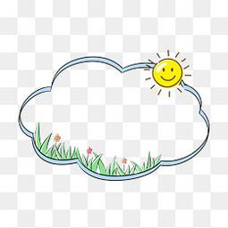 可爱太阳卡通边框手绘插画
