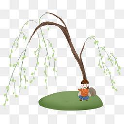 清明节柳树下的牧童
