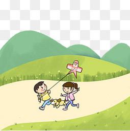 清明节郊游春日旅行放风筝PNG