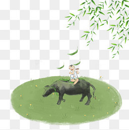 清明牧童绿柳燕子PNG节气