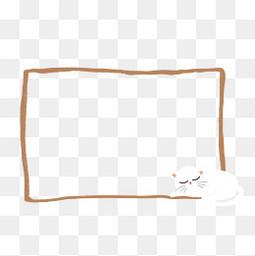夏季夏天清新猫咪手绘插画边框
