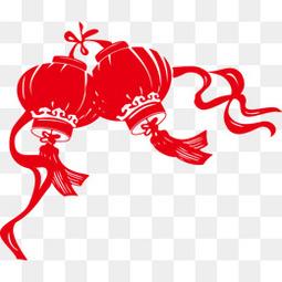 中国传统节日灯笼剪影矢量