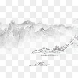 手绘山画中国风素材