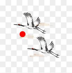 中国风黑白仙鹤