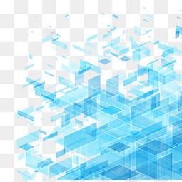 蓝色透明立体方块科技背景图免费下载