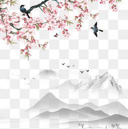 清明节水墨风桃花背景元素